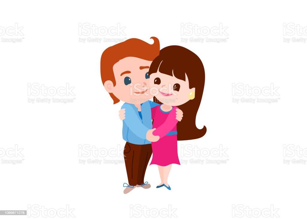 Vetores De Casal Apaixonado Homem E Mulher Abracando Gentilmente