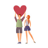 Couple in love. Man and woman on a romantic date. A man holding a heart. Vector illustration.