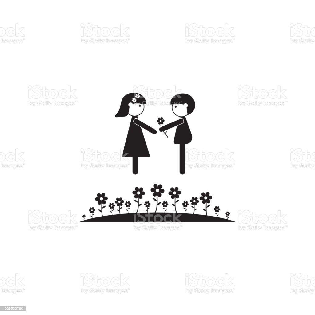 ilustración de pareja de enamorados en el icono de césped