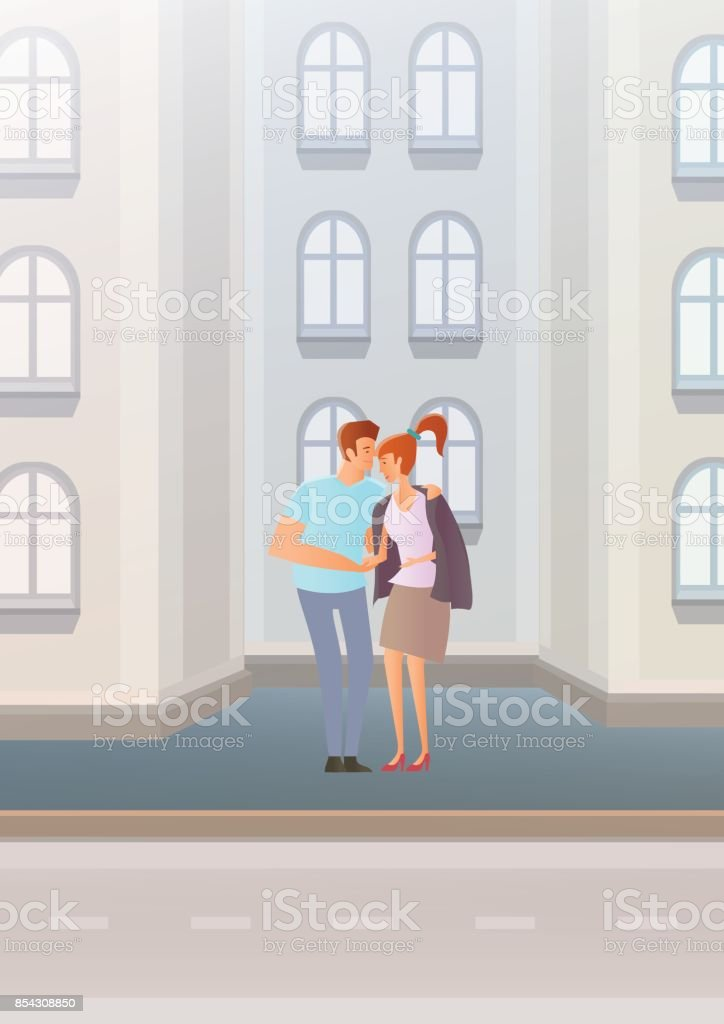 Couple in love on city street. The young man gave the girl his jacket. Embracing lovers. Vector illustration. vector art illustration