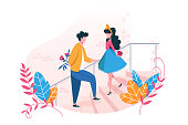 Couple in love on date. Concept Valentine s Day. Young man gives flowers to girl and girl gives her heart. Vector illustration.