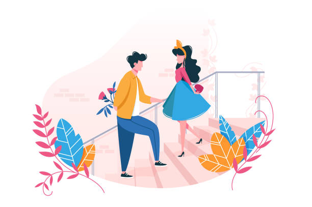 Couple in love on date. Couple in love on date. Concept Valentine s Day. Young man gives flowers to girl and girl gives her heart. Vector illustration. romance stock illustrations