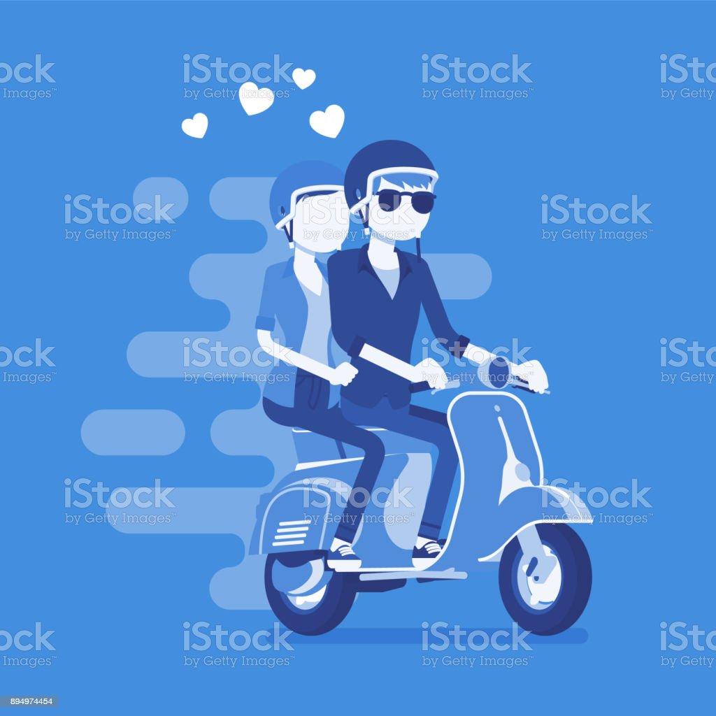 スクーターの愛のカップル のイラスト素材 894974454 | istock