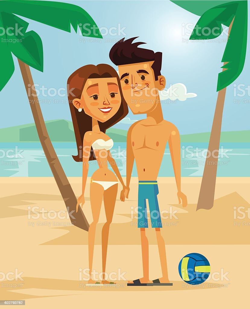 Couple in love relax.  Man and woman characters vector art illustration