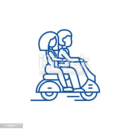 Couple in love riding a scooter line concept icon. Couple in love riding a scooter flat  vector website sign, outline symbol, illustration.