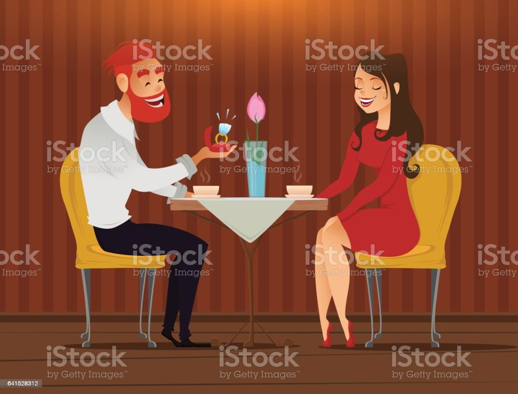 Couple in love, romantic evening in restaurant or cafe vector art illustration