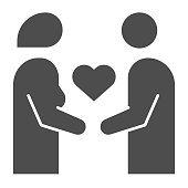 Couple in love simple solid icon. Woman and man with heart shape symbol, glyph style pictogram on white background. Relationship sign for mobile concept and web design. Vector graphics