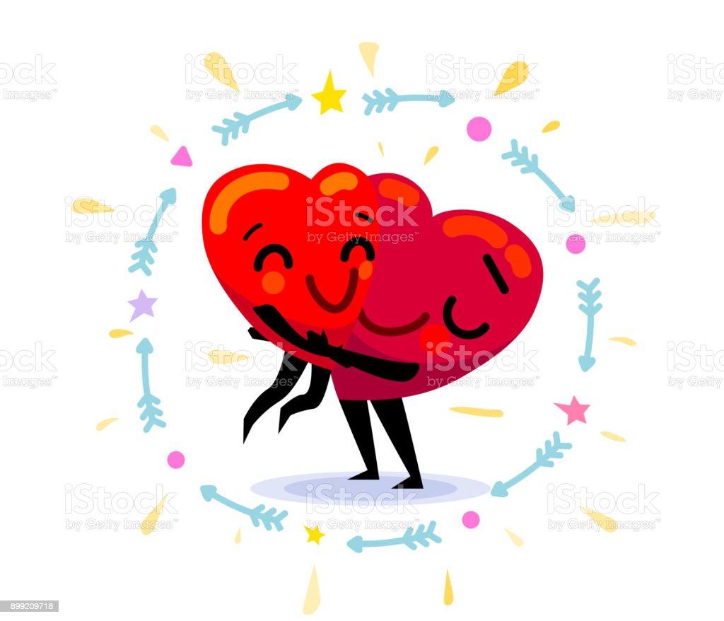 ilustração de casal apaixonado dois corações de desenho animado liso