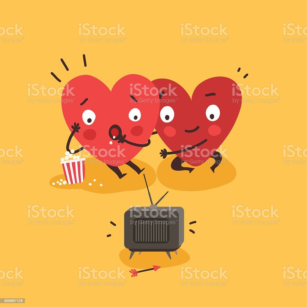 Couple in love. Two happy hearts watching TV together royalty-free couple in love two happy hearts watching tv together stock vector art & more images of affectionate