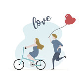 Couple in love vector illustration for valentine's day card banner design. Concept of happy lovers riding a bike.