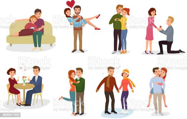 Couple In Love Vector Lovers Characters In Lovely Relationships Together On Loving Date Valentines Day And Boyfriend Kissing Loved Girlfriend Illustration Hearted Set Isolated On White Background - Arte vetorial de stock e mais imagens de Abraçar