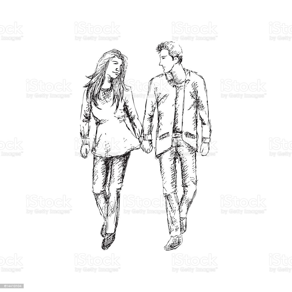 Couple In Love Walking Sketching Royalty Free Stock