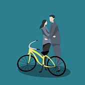 Couple in love with cute cartoon and bike character vector illustration
