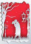 Couple in Love,Concept of valentine day, Paper art and craft style.