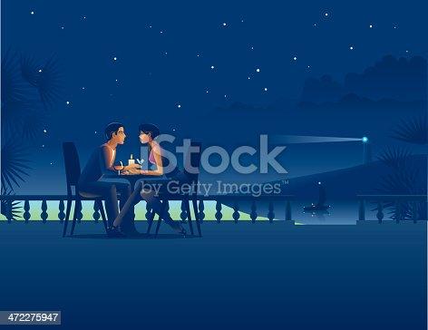 istock Couple in night coast cafe. 472275947