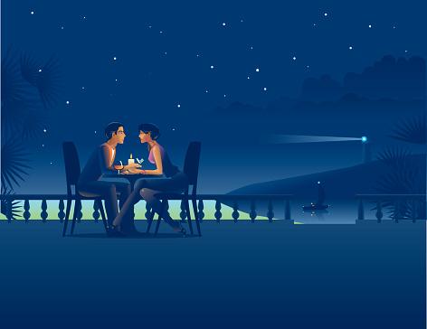 Couple in night coast cafe.