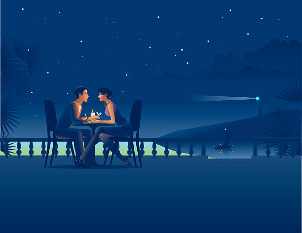 Couple in night coast cafe. Vector illustration of the couple in night coast cafe. You can upload your design project to Design spotlight: http://www.istockphoto.com/design_upload.php , so you will get 5 credits to your Istockphoto account.  romance stock illustrations