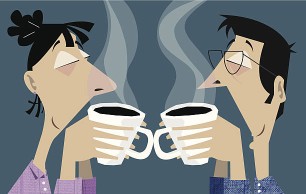 couple in pajama smelling coffee aroma - stacked tea cups stock illustrations, clip art, cartoons, & icons