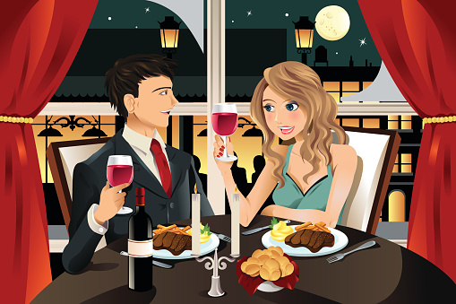 Fine dining stock illustrations