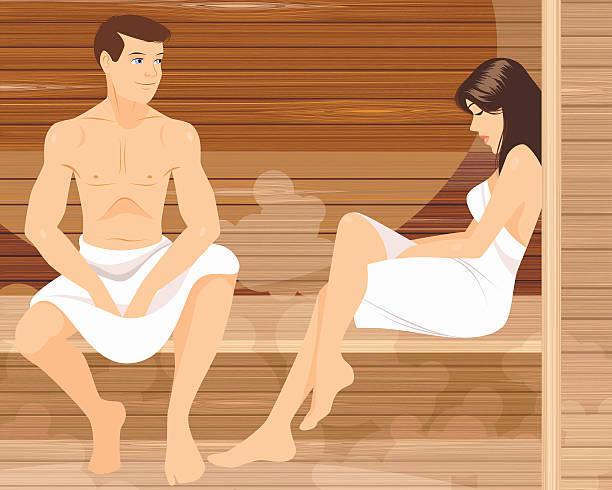 stockillustraties, clipart, cartoons en iconen met couple in sauna - sauna