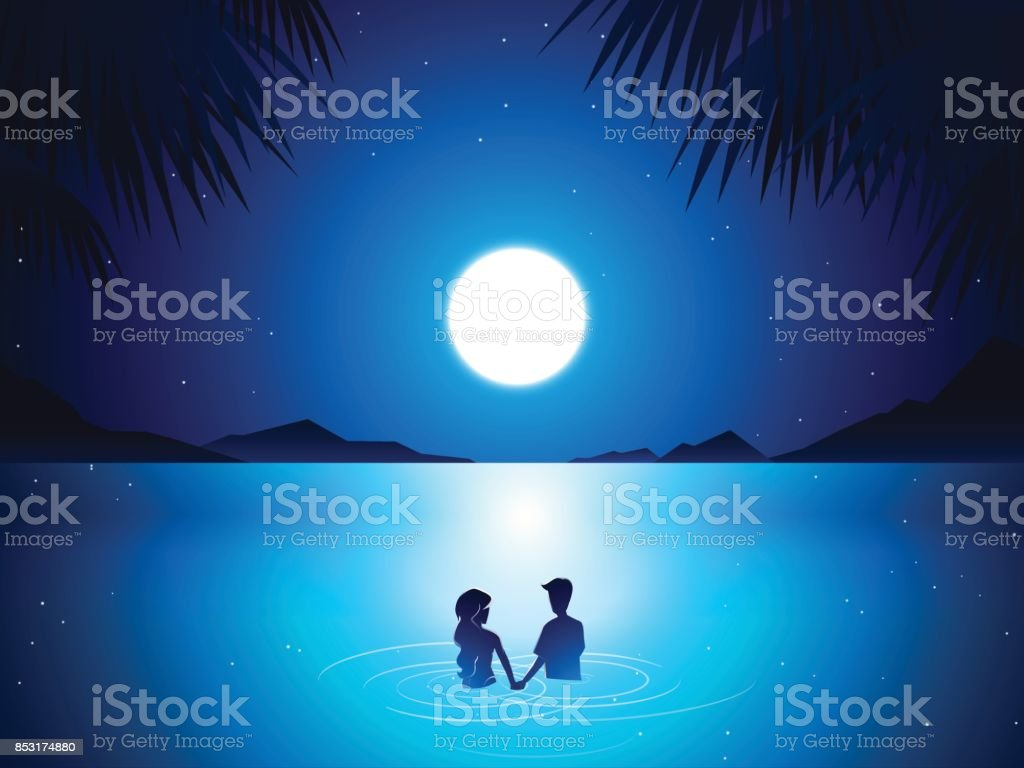 couple in sea at night vector art illustration