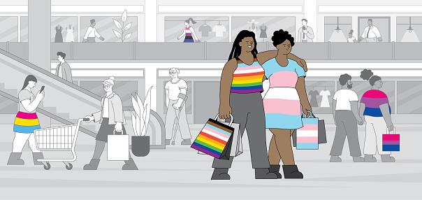 LGBTQIA couple in shopping mall