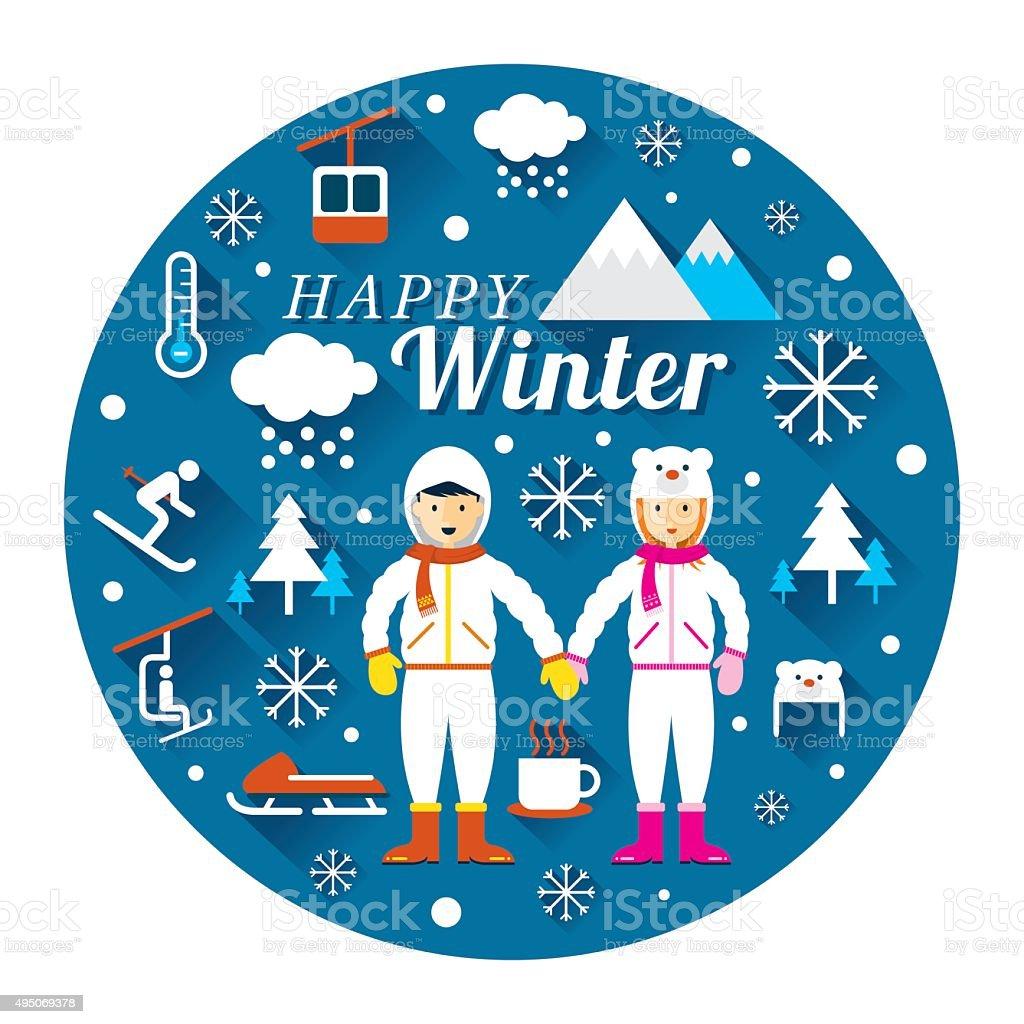 カップルで冬のアイコンラベル snowsuit のイラスト素材 495069378