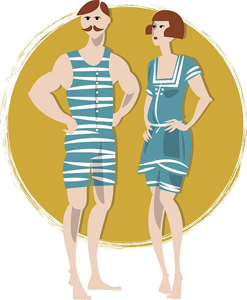 Paar in swimwears.  Art-Déco-Stil.  Retro -. – Vektorgrafik