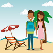 couple in the beach characters vector illustration design