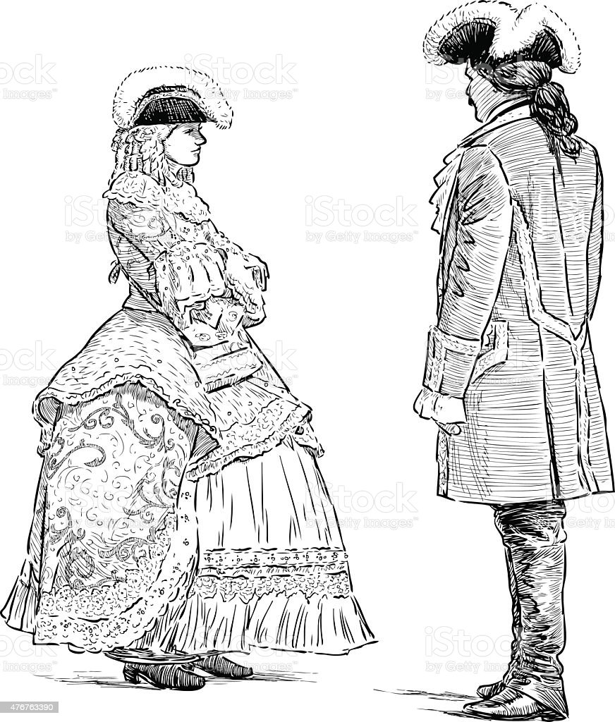 couple in the historical suits