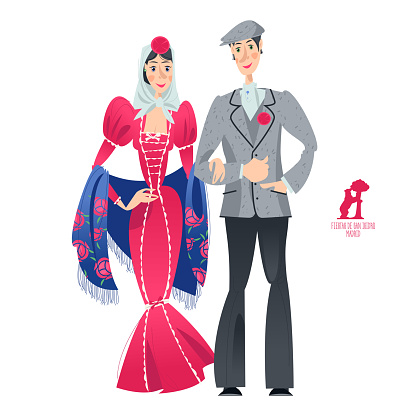"""Couple in traditional clothes during the festival of """"San Isidro"""" (Fiestas de San Isidro), patron of Madrid."""