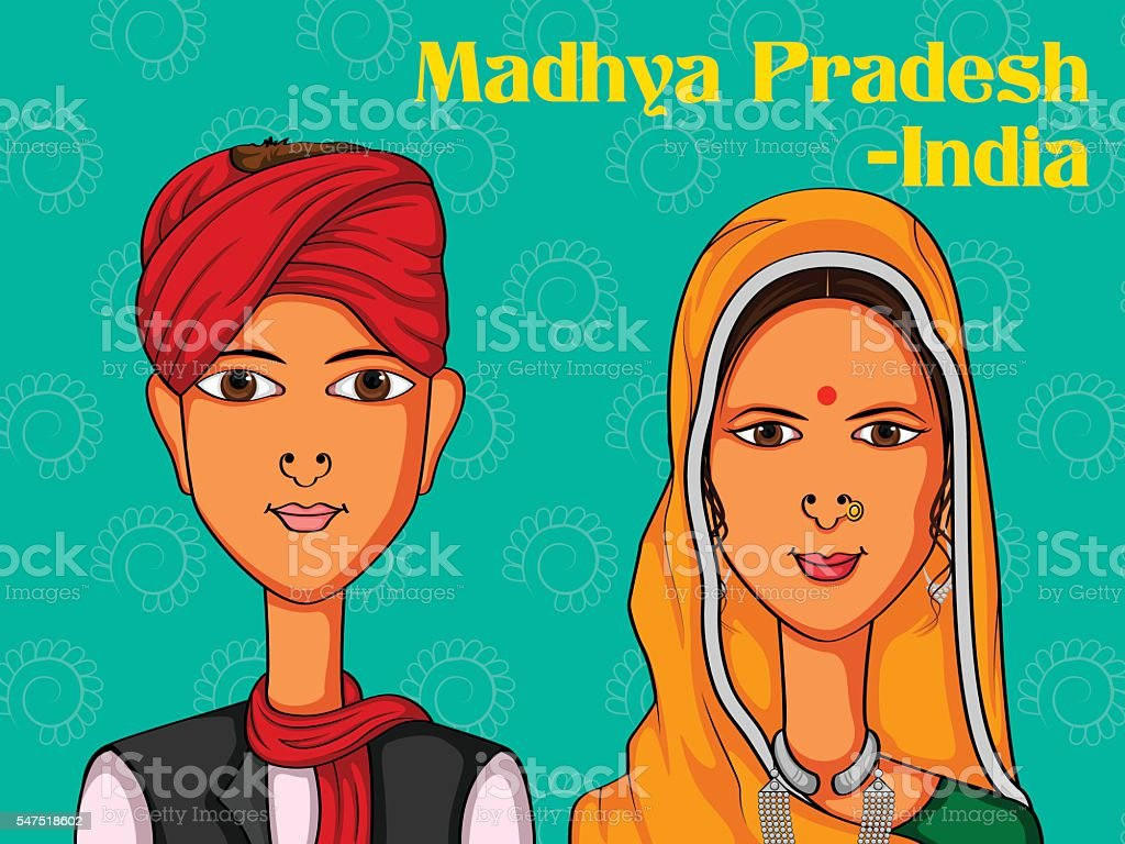 36dc93fbfd Couple in traditional costume of Madhya Pradesh, India royalty-free couple  in traditional costume
