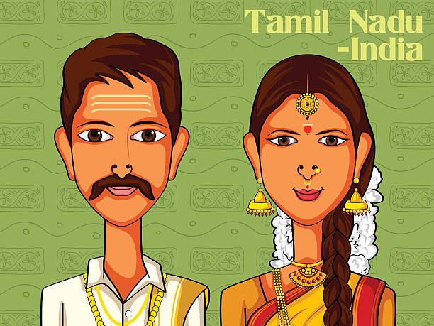 couple in traditional costume of tamil nadu, india - madurai stock-grafiken, -clipart, -cartoons und -symbole
