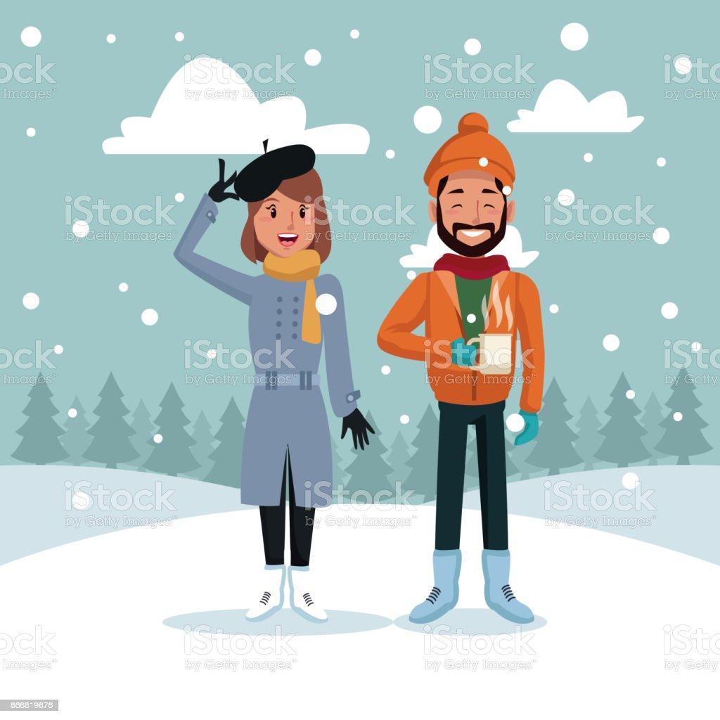 冬の漫画のカップル のイラスト素材 866819876   istock