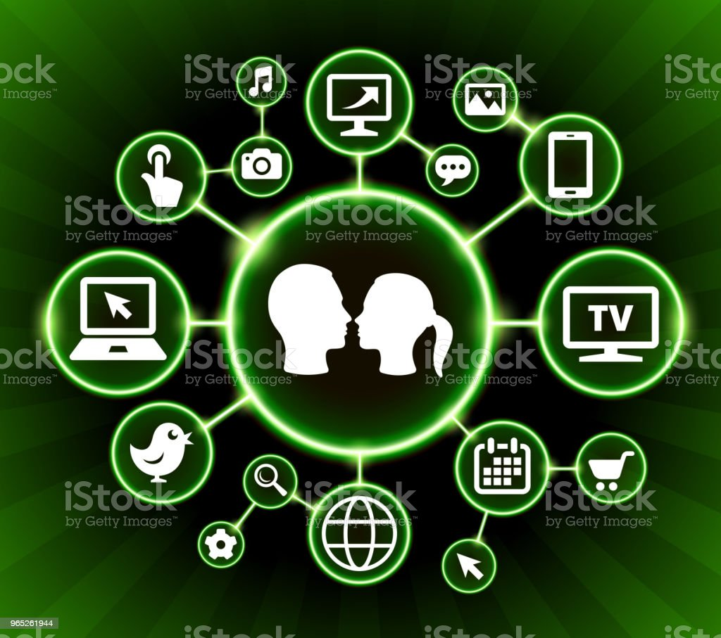 Couple Internet Communication Technology Dark Buttons Background royalty-free couple internet communication technology dark buttons background stock illustration - download image now