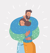 Couple of man and woman hugging each other on white background. Two happy lovers embracing. Husband and wife is in love. Vector cartoon illustration in modern concept