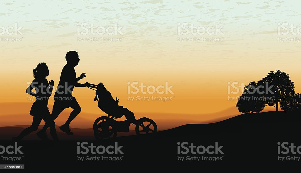 Couple Jogging, Exercising with Baby Stroller at Twilight Background royalty-free stock vector art