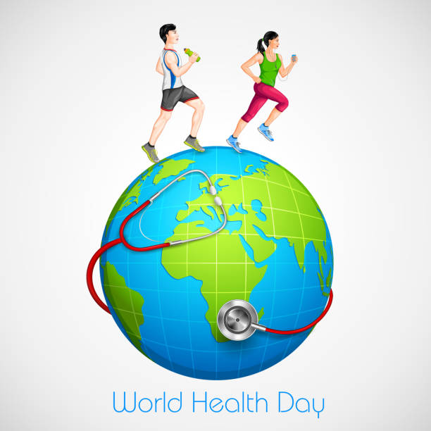 Couple jogging for wellness vector illustration of couple jogging for wellness world health day stock illustrations