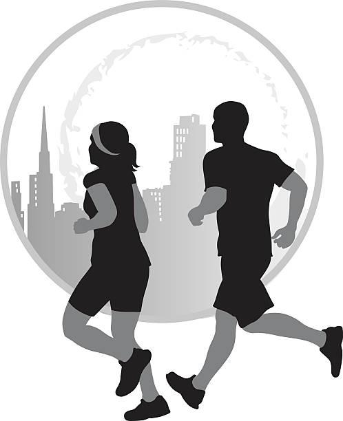 ilustrações de stock, clip art, desenhos animados e ícones de couple jogging in the city vector silhouette icon - young woman running city