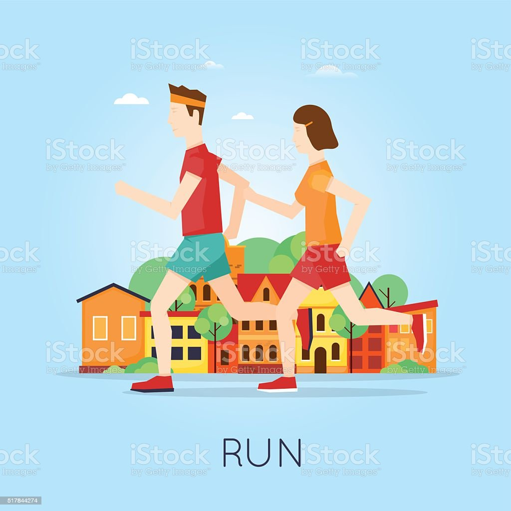 Couple jogging on the background of the city, sport. vector art illustration