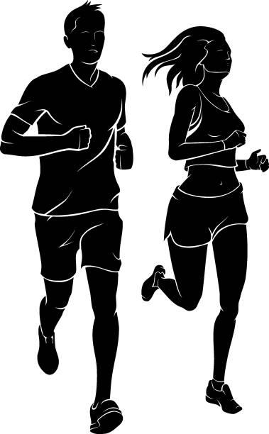 illustrations, cliparts, dessins animés et icônes de couple de jogging ensemble - running