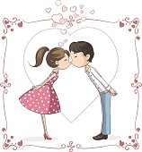 Vector illustration of a man and woman in love and kissing
