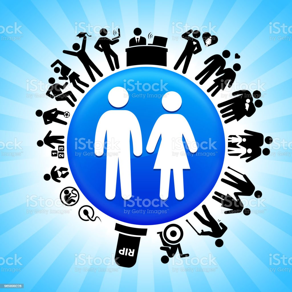 Couple  Lifecycle Stages of Life Background - Royalty-free Adolescence stock vector