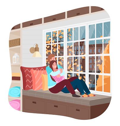Couple Look at Autumn City Sitting on Windowsill