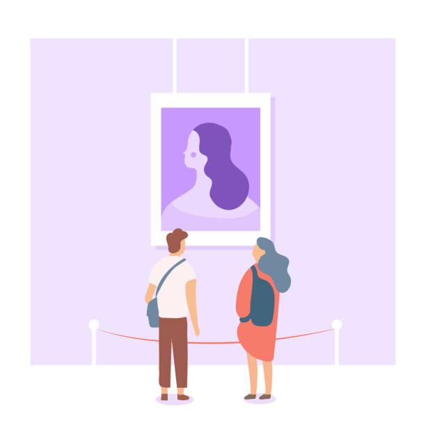 カップルは、展覧会で絵を探してします。 - 美術館点のイラスト素材/クリップアート素材/マンガ素材/アイコン素材