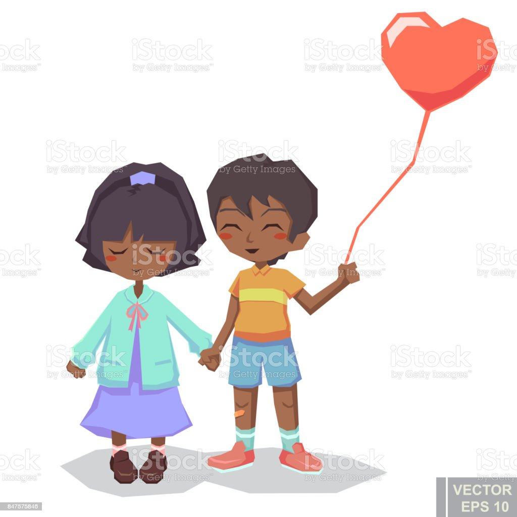 Couple lovers girl and boy hold hands heart balloon modern design cartoon stylish illustration retro flat vector background valentines day card