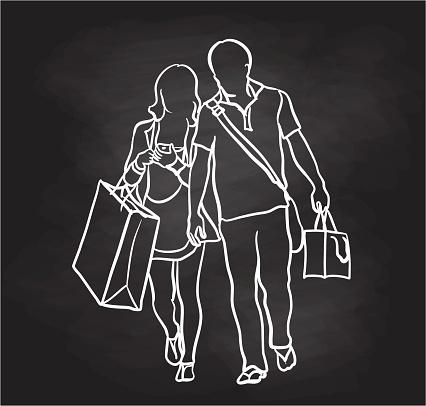 Couple Loving Shopping Chalkboard