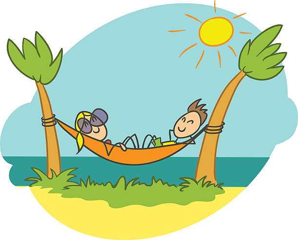 Royalty Free Background Of The Man In Hammock Clip Art