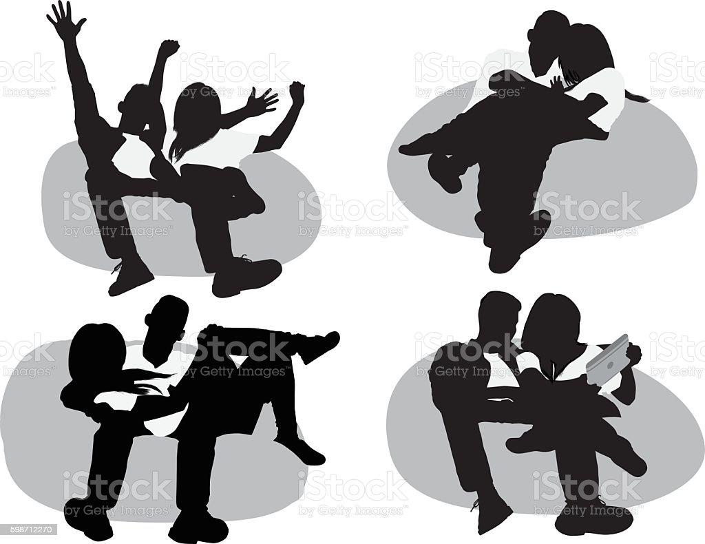 Couple lying on bean bag vector art illustration