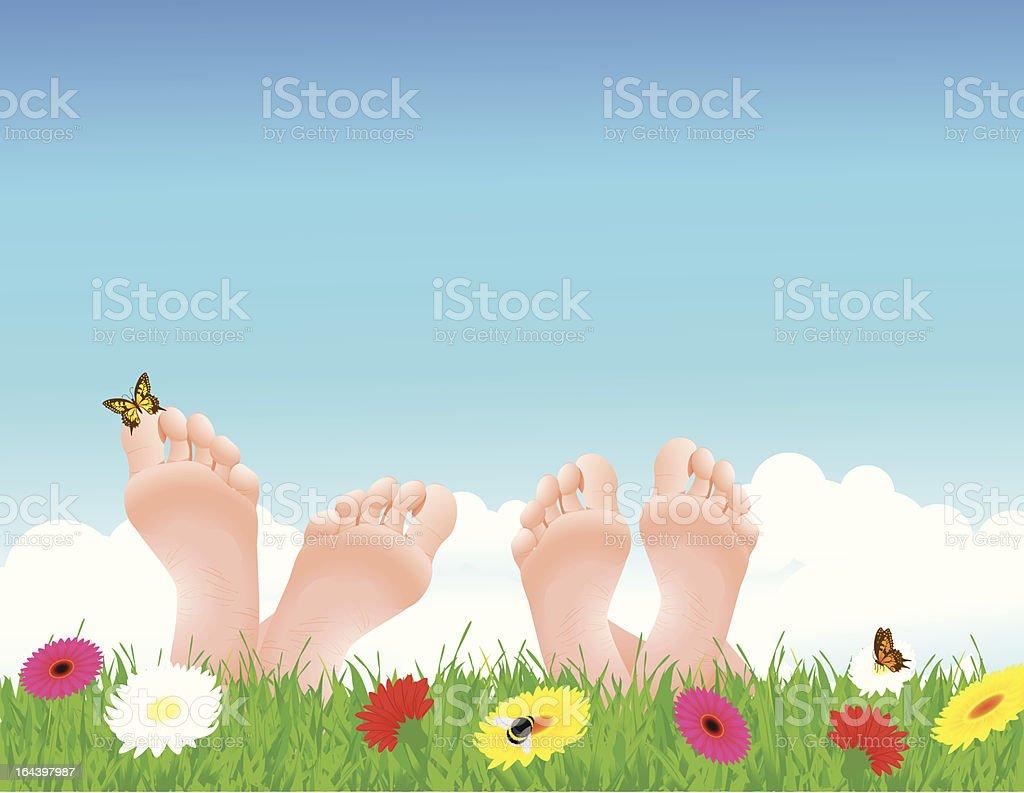 Couple lying on summer field royalty-free stock vector art